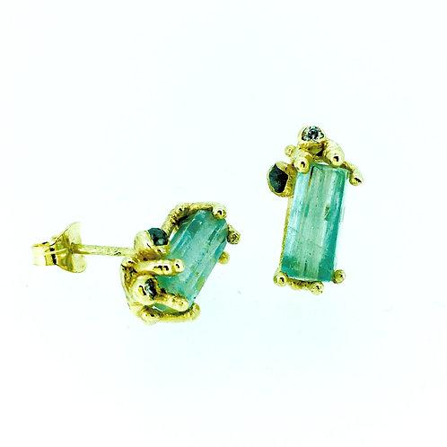 Aquamarine and Grey Diamond gold stud earrings