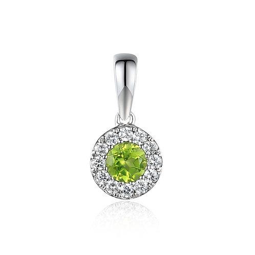 Peridot and Diamond halo white gold pendant on chain