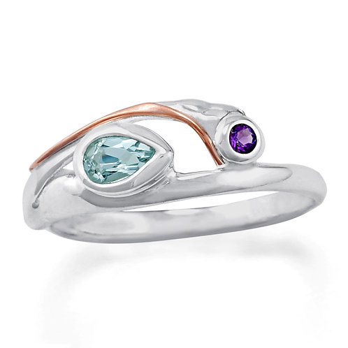 Bue Topaz and Amethyst ring