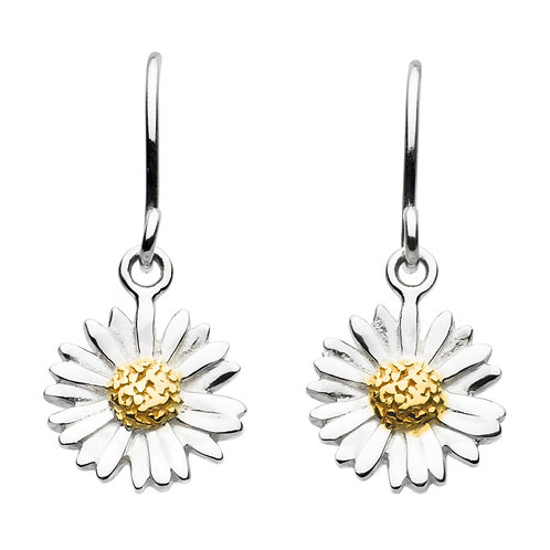 Daisy silver and gold plate drop earrings