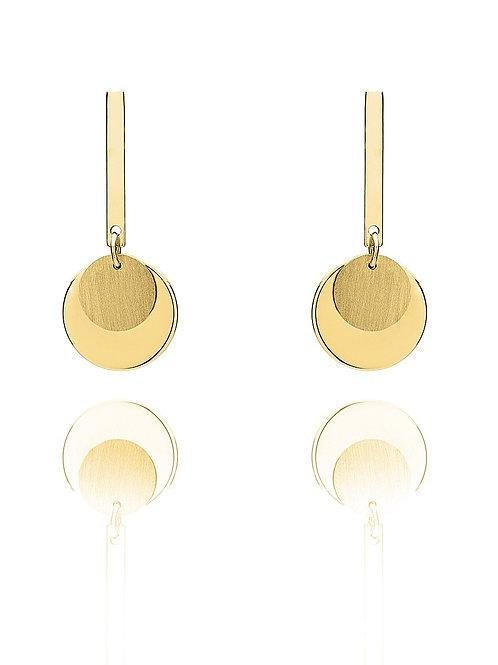 Double disc drop earrings 9ct yellow gold