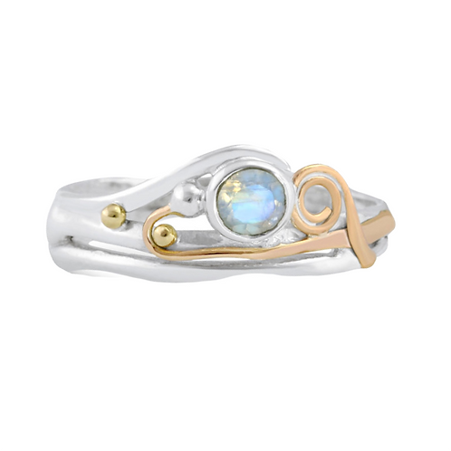 Moonstone silver with gold details ring
