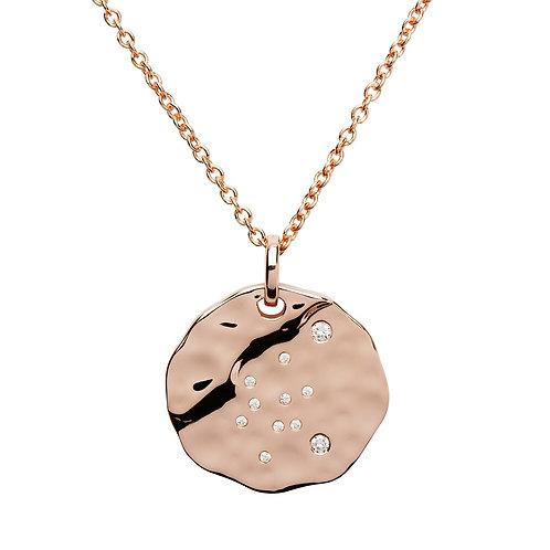 Aquarius Constellation Rose gold plated silver pendant