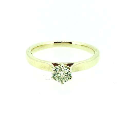 Diamond Solitaire six claw gold ring