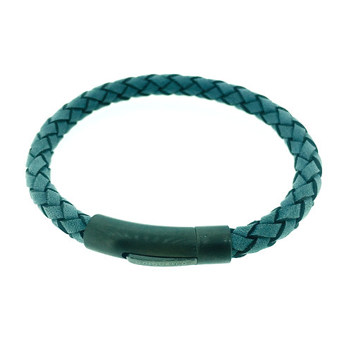 Antique Blue Leather bracelet with gunmetal IP plate clasp
