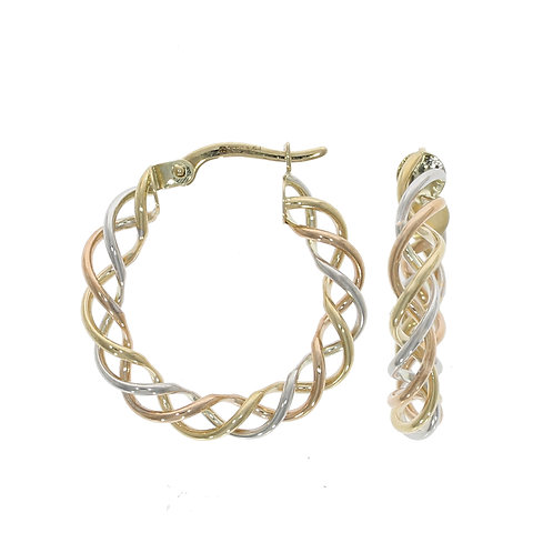 Twisted yellow and white gold wire hoop earrings