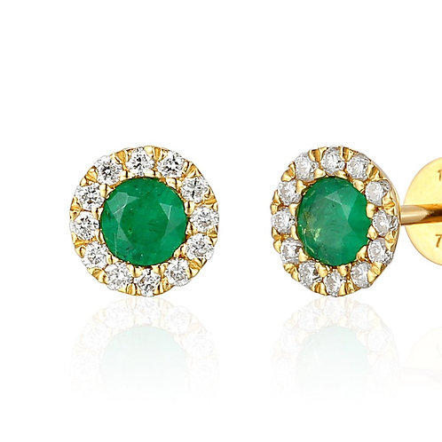 Emerald and Diamond halo yellow gold stud earrings