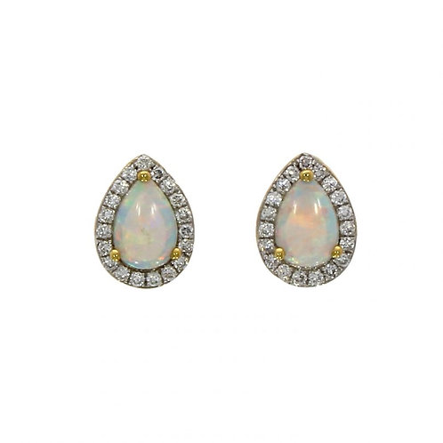 18ct Opal and Diamond pear shape cluster stud earrings
