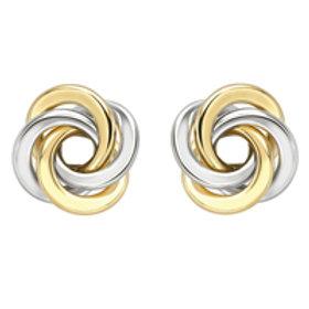 Bicolour Gold Swirl stud earrings