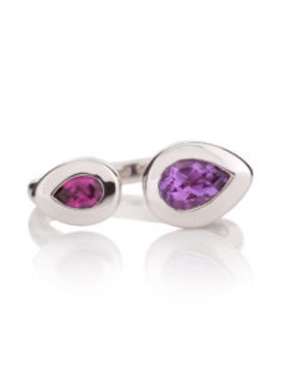 Toi et Moi amethyst and rhodolite silver ring
