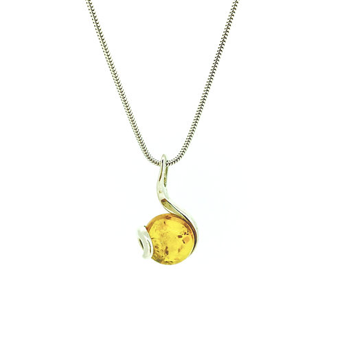 Round Amber and Silver Swirl pendant