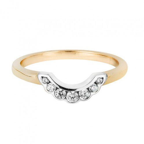 Frilly channel set shaped wedding band