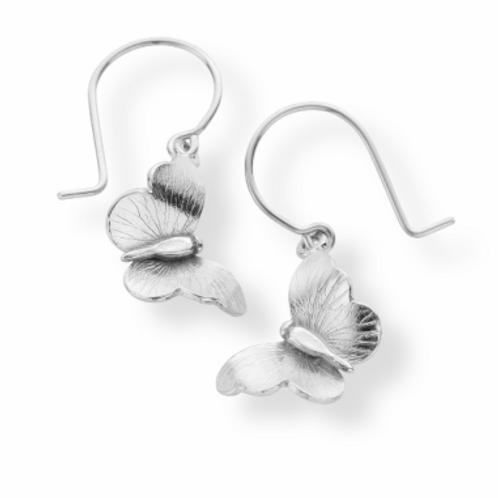 Enchanted Flying Butterfly silver hook earrings