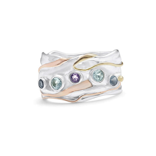 Blue Topaz, Amethyst and Iolite silver statement ring