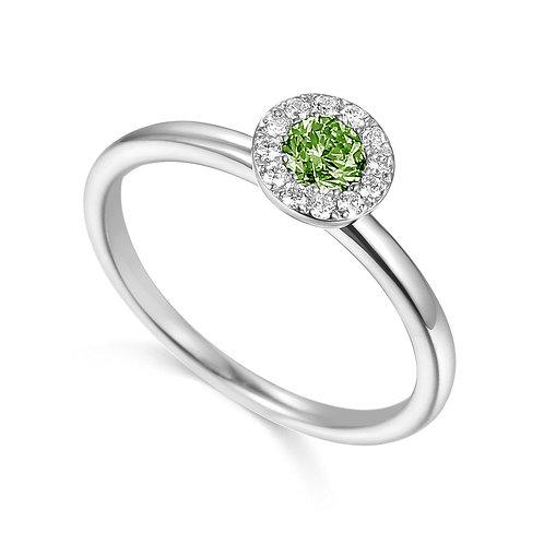 Peridot and Diamond halo white gold ring