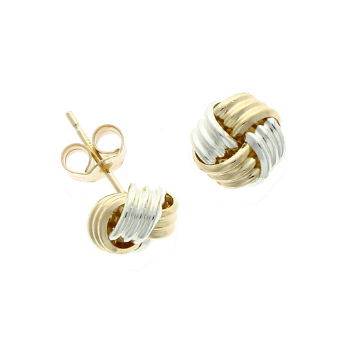 Bi-colour ribbed knot stud earring