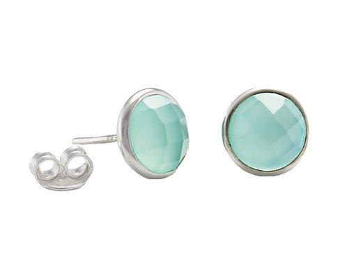 Aqua Chalcedony silver stud earrings