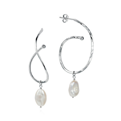 Calligraphy Ripple hoop Baroque pearl drop earrings