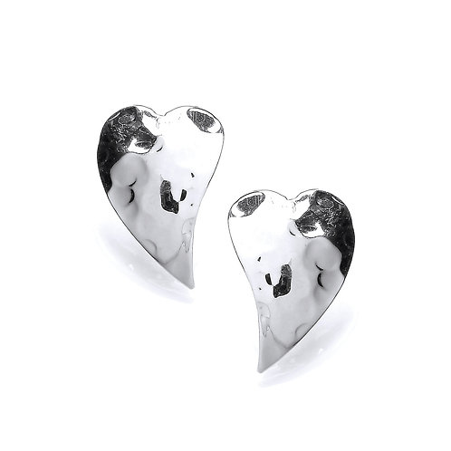 Curved Silver Heart Stud Earrings