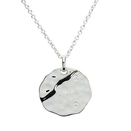 Aquarius Constellation silver pendant