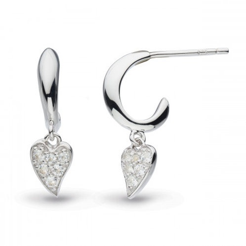 Desire Precious white topaz Heart hoop drop earrings