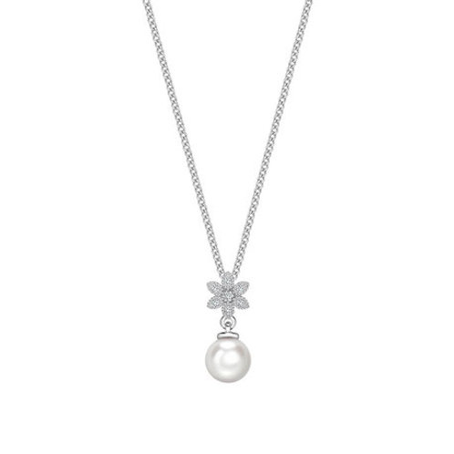 Pearl and Diamond Flower white gold pendant
