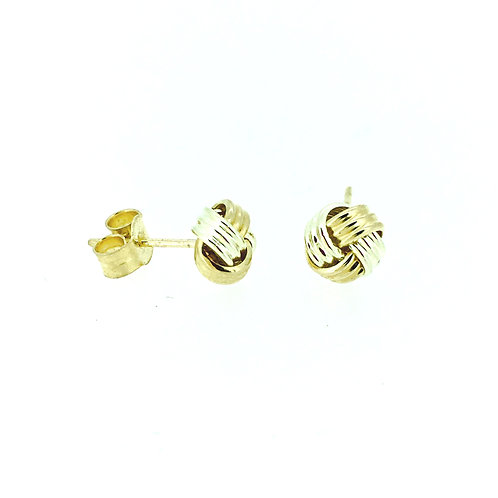 Bicolour gold ribbed knot earrings