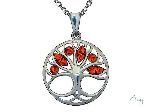 Amber and silver Tree of Life pendant on silver chain