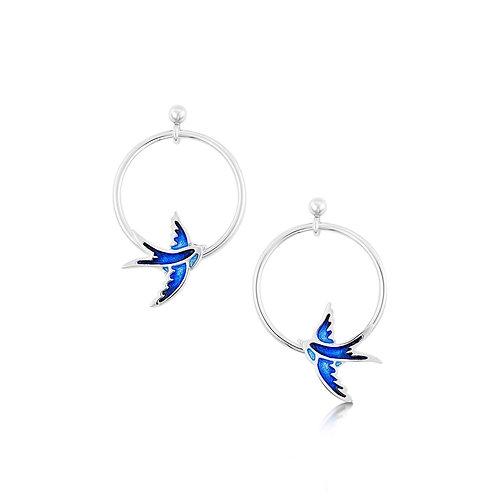 Swallows One Hoop drop earrings