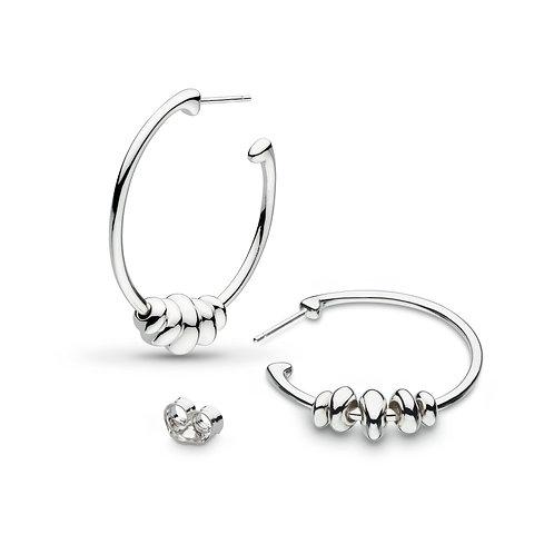 Coast Tumble 32mm Rhodium plate semi-hoop earrings