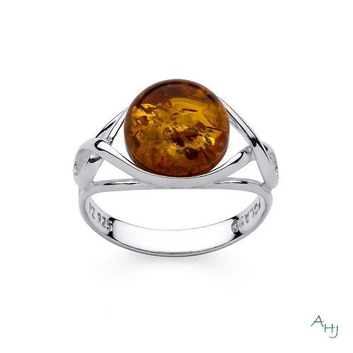 Celtic style Baltic Amber ring