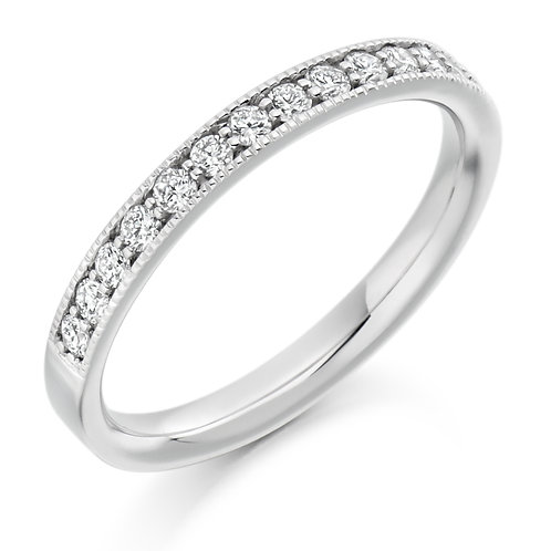 Vintage style Milgrain edge Diamond half Eternity ring