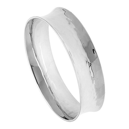 Silver oval textured bangle