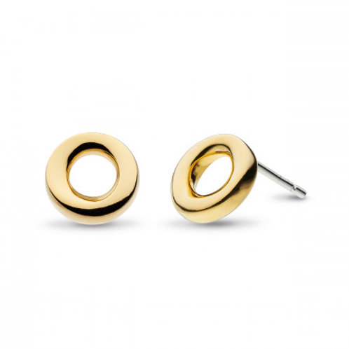 Bevel Cirque gold plate stud earrings