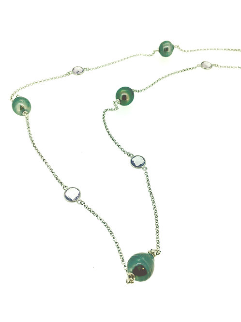 Tahitian Pearl and Amethyst silver long necklace
