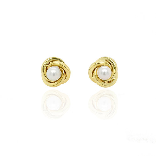 Gold and Pearl knot earring