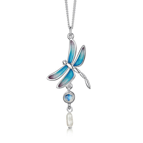 Dragonfly drop pendant with moonstone and pearl