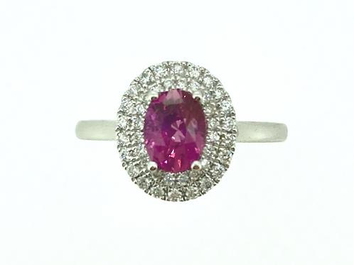 Pink Sapphire Double Diamond Halo ring