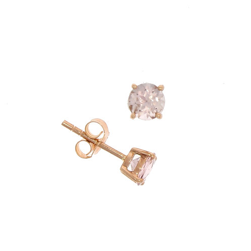 Morganite and rose gold round stud earrings