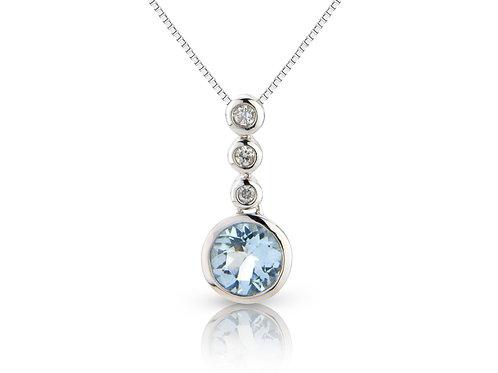 Aquamarine and Diamond drop pendant