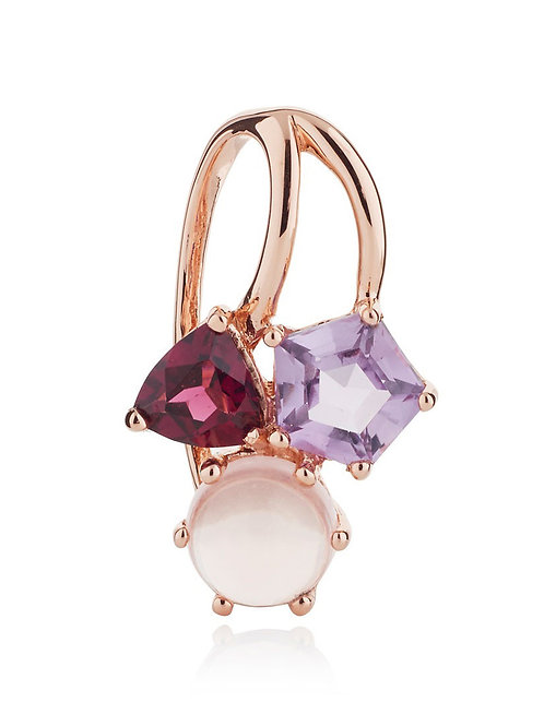 Kintana amethyst, rhodolite, and rose quartz rose gold plated silver pendant