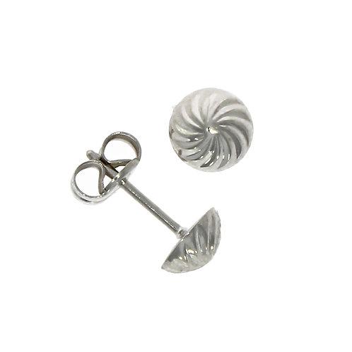 Small swirl white gold stud earrings