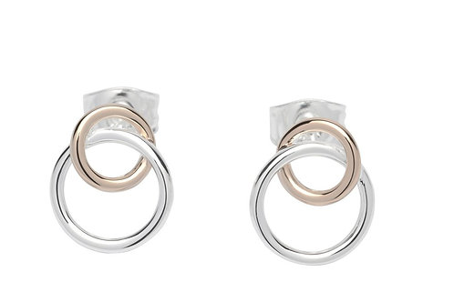 Double Circle Silver and Rose Gold plate stud earrings