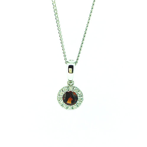 Garnet and Diamond halo White gold pendant on chain