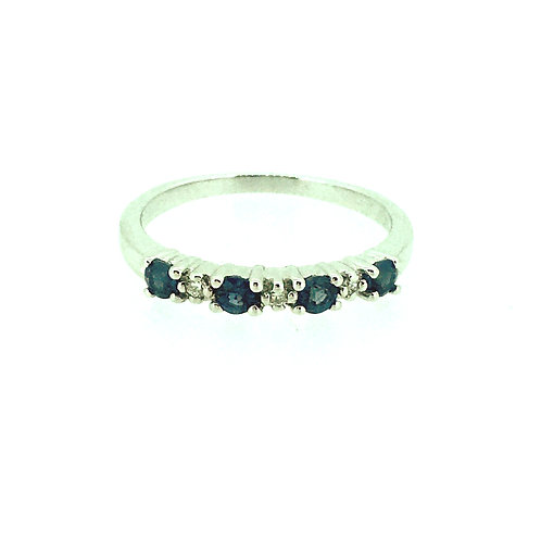 Sapphire and Diamond 9ct white gold Eternity ring