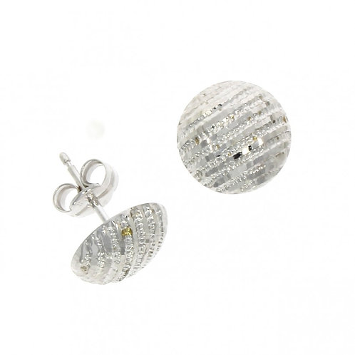9ct White gold domed textured stud earrings