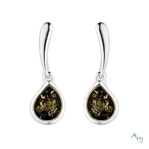 Green Amber drop earrings