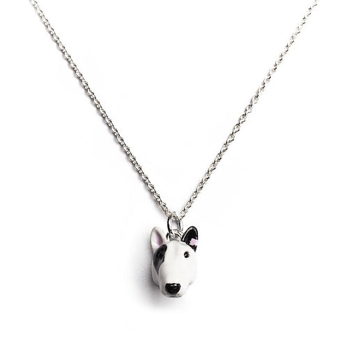 Silver and enamel Bull Terrier head pendant