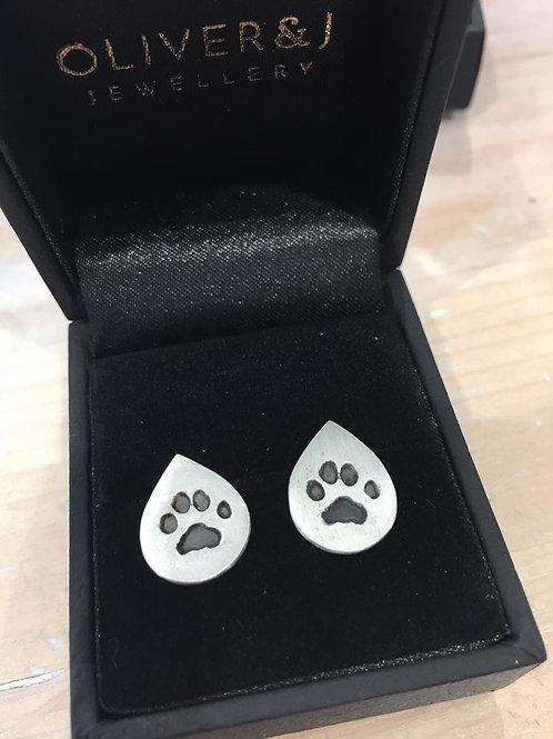 Silver Precious paws teardrop stud earrings