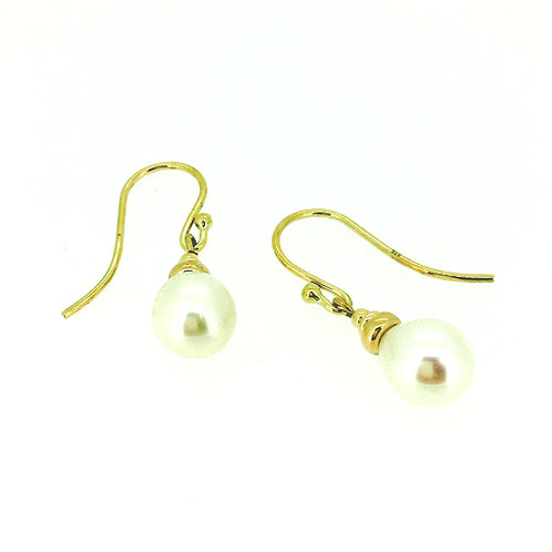 Pearl drop earring 9ct yellow gold